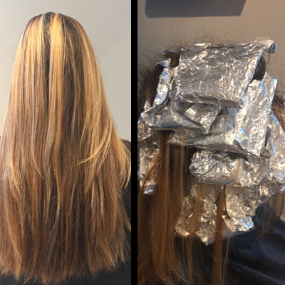 bronde balayage using foils to incubate