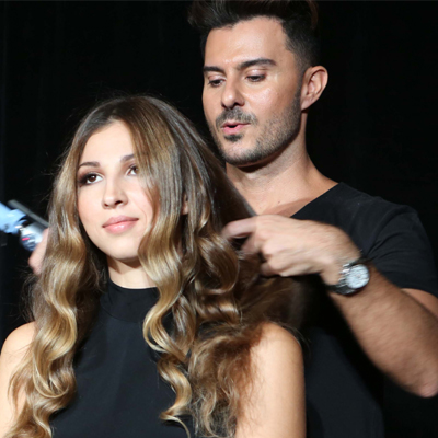Backcomb balayage technique finished look
