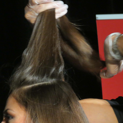 create a horseshoe section in the hair