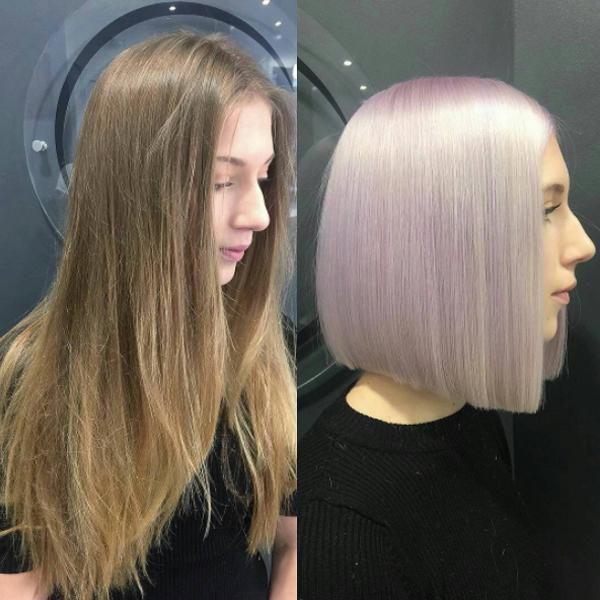 purple pastel hair color transformation with sleek bob haircut transformation by @ludovicgeheniaux_paris