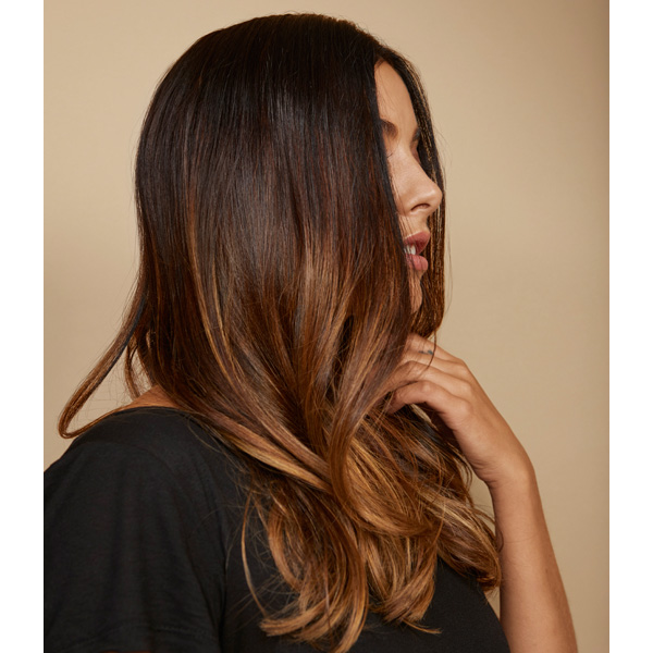 Blended Brunette Balayage On Long Layers Using Redken Color