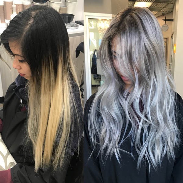 silver platinum silver-toned color correction Asian hair olaplex treatment schwarzkopf igora royal blondme redken shades eq