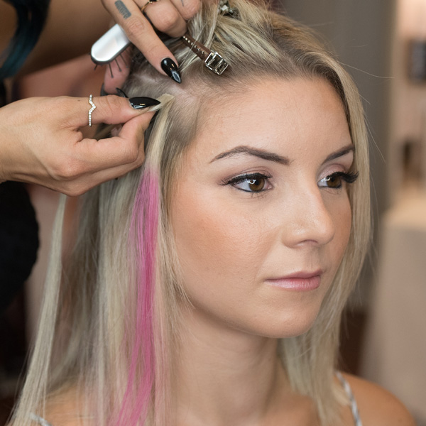 extension application mini strand plus from hairtalk extensions using pops of color step by step photos