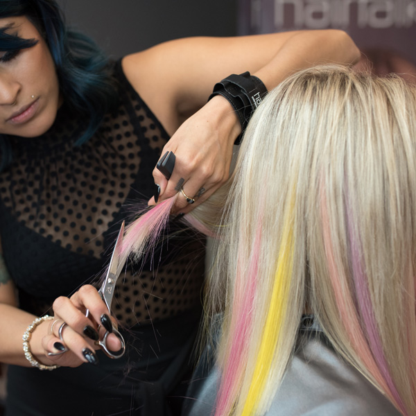 point-cutting extensions from hairtalk extensions using pops of color step by step photos