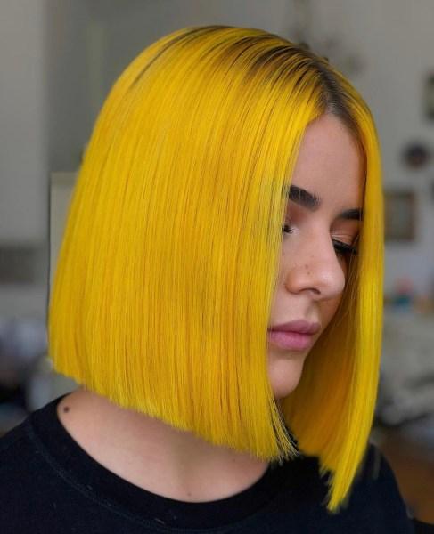 yellow fashion hair color bob by @kayla_boyer