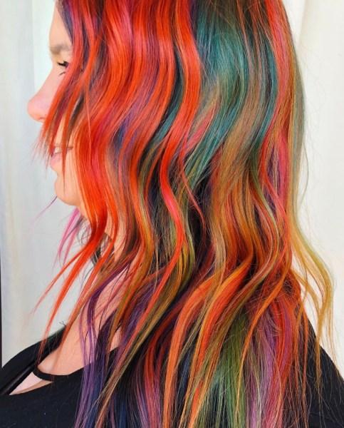 rainbow fashion hair color by @desirre_hairstylist