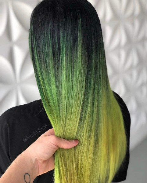 yellow green fashion hair color by @hairbyelm