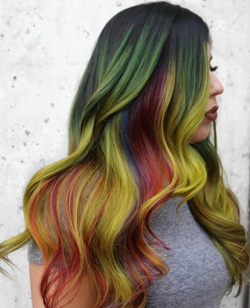 rainbow hair color - fashion hair colors by @amberdoeshairhtx