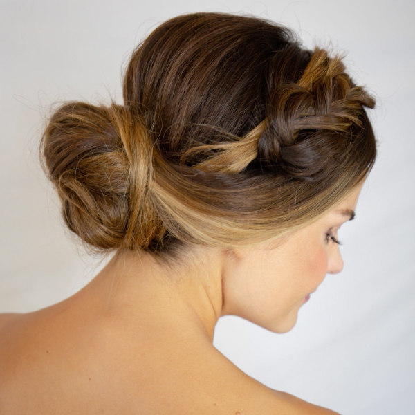 how to steps for halo chignon updo by colorproof