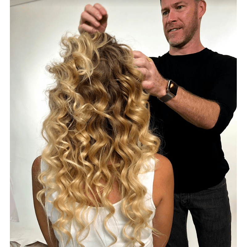 Moroccanoil Half Upstyle Snatched Ponytail Voluminous Waves Curls Moroccanoil Kevin Hughes Holiday Styling Hair Accessories
