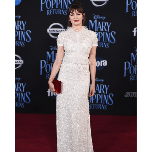 "Emily Mortimer at the ""Mary Poppins Returns"" premiere with hair styled by Giannandrea."
