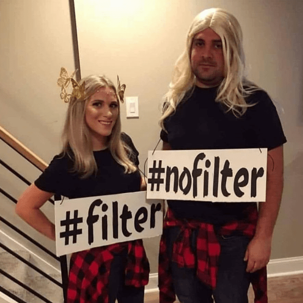 #filter #nofilter his and her halloween costume - funny meme - Behindthechair.com's Top Instagram Memes of 2018