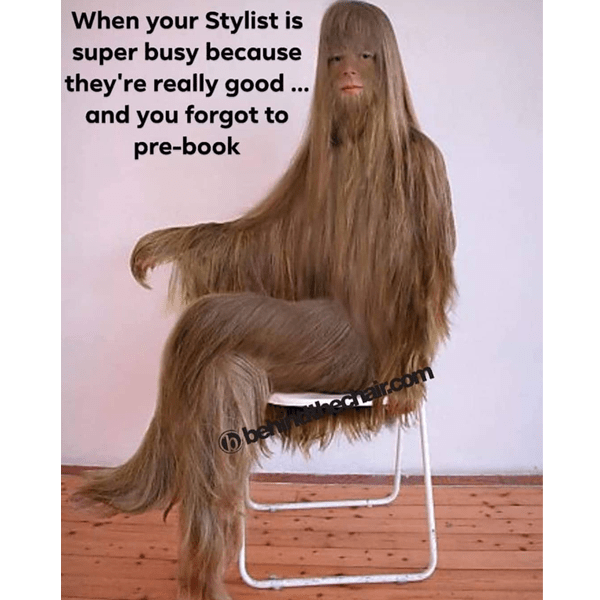 When your stylist is super busy because they're really good... and you forgot to pre-book. - funny meme - Behindthechair.com's Top Instagram Memes of 2018