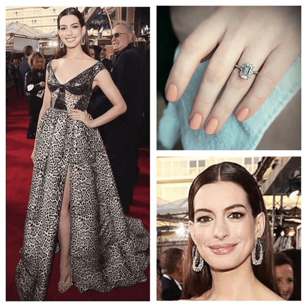 Anne Hathaway wearing Chanel nail polish at the Golden Globes 2019. Nails by @tombachik.
