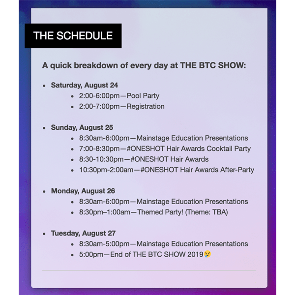 THE BTC SHOW SCHEDULE 2019