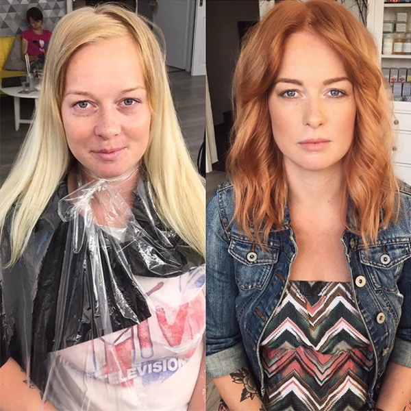 Transformation Instagram @studio_marteena Davines Copper Gold Transformation Formulas Application Steps