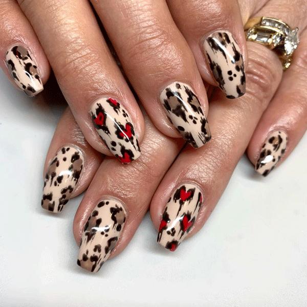 Valentine's Day nail art, nail art, nude nails, leopard nails,