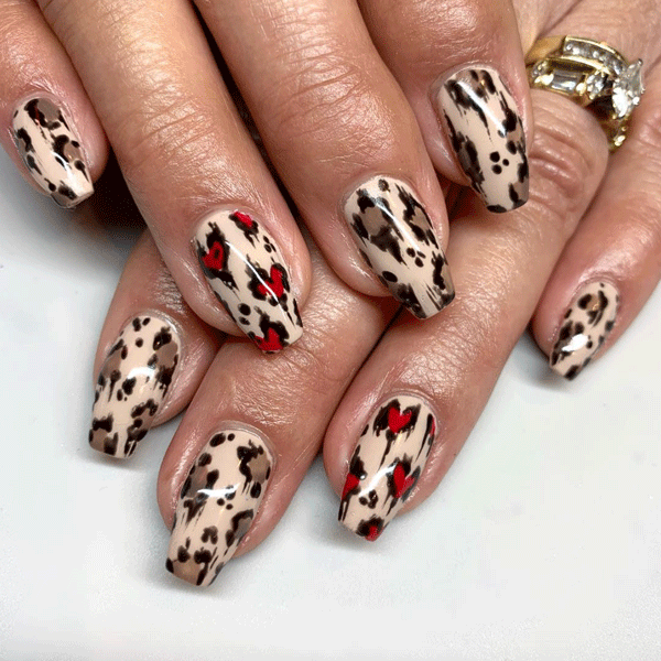 Valentine's Day nail art, nail art, nude nails, leopard nails,