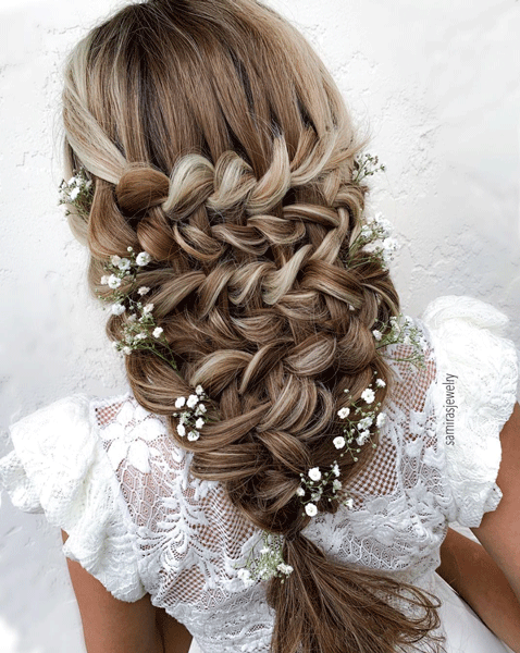 blonde, bridal, braids