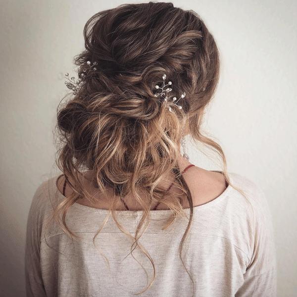 bridal, updo, brunette
