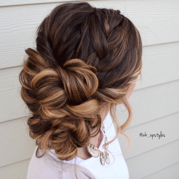 bridal, braids, brunette