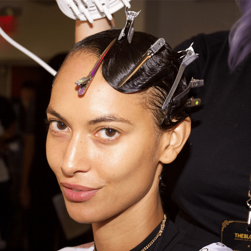 New York Fashion Week Hair Model Trend Wet Look