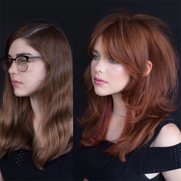 Ashlee Norman @ashleenormanhair Cares Mills @colorbycares Collaboration Ginger Copper Fall Red Hair Shag Cut How To Haircut Haircolor Formula