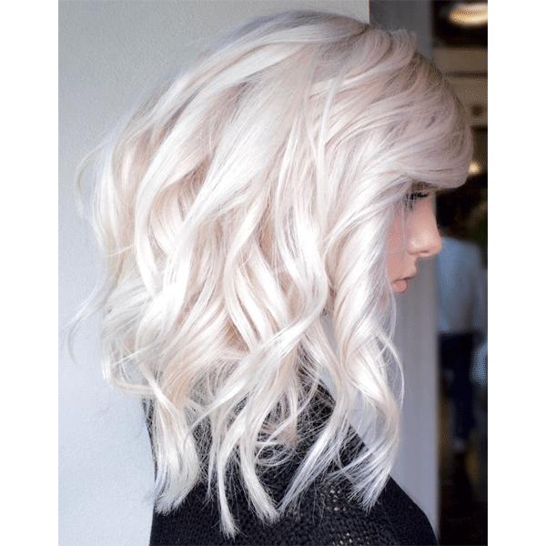 platinum, blonde, mid length, curls