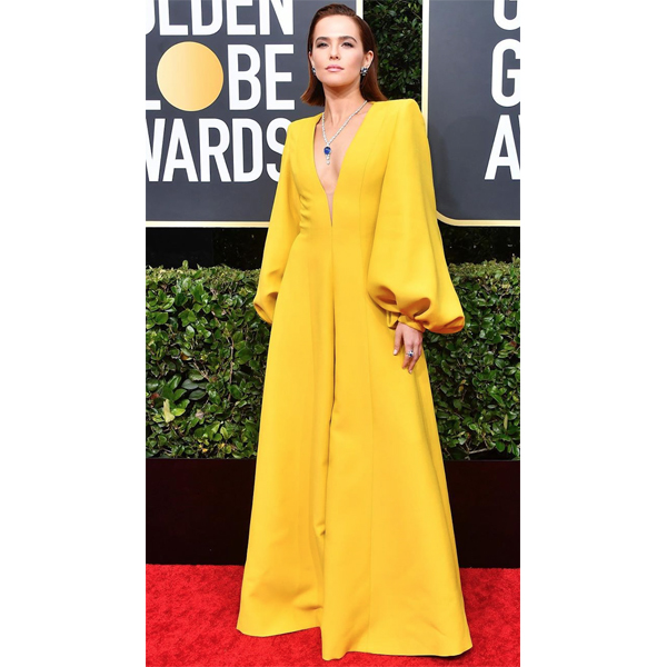 Golden Globes 2020 Zoey Deutch Dimensional Red Hair Color Tracey Cunningham @traceycunningham1 Redken Shades EQ Gloss