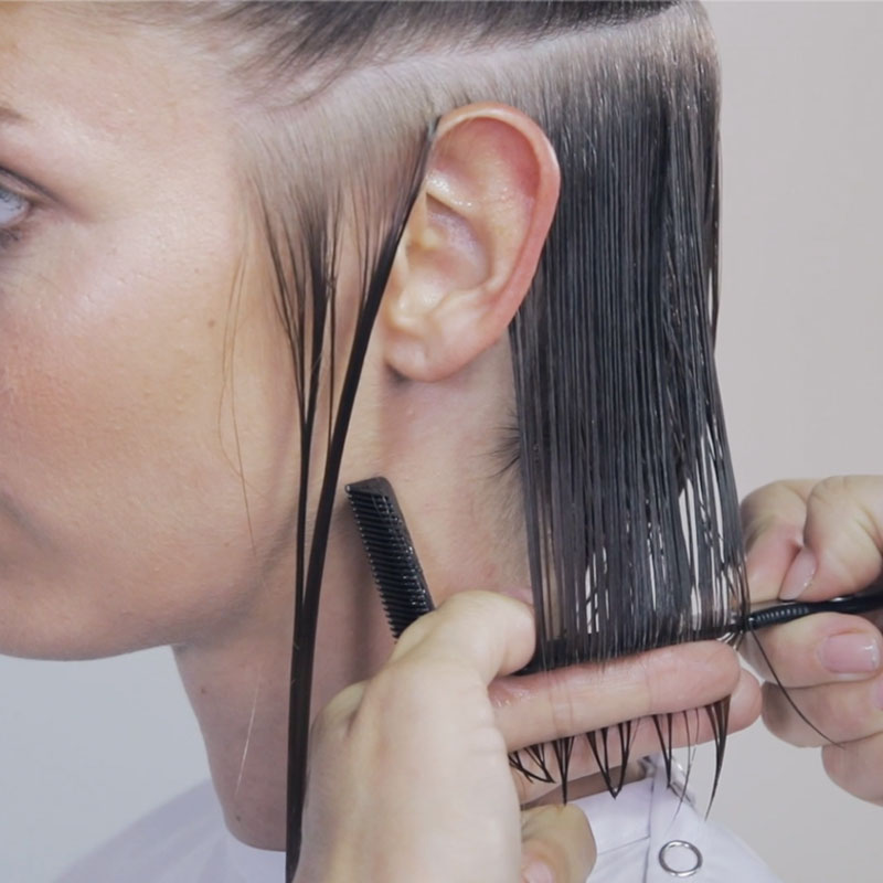 French Bob How To Cutting Tutorial Step By Step with Fringe Moroccanoil Razor