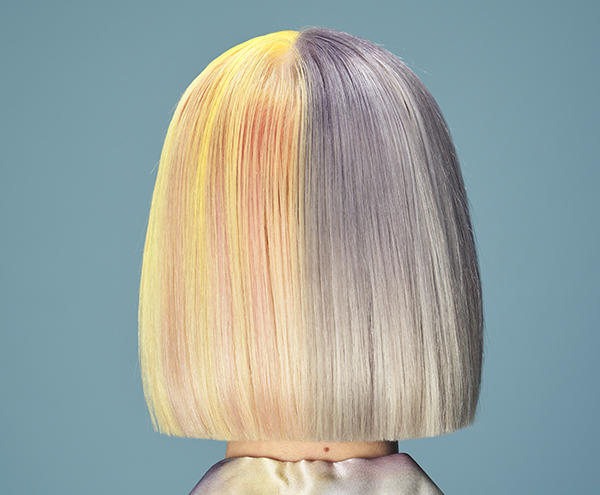 Aloxxi How To Two Toned Haircolor Step By Step Orange Red Yellow Blue Purple Pastel Unconventional Color Melt Cool Toned Warm Toned