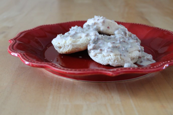 flaky biscuits sausage gravy