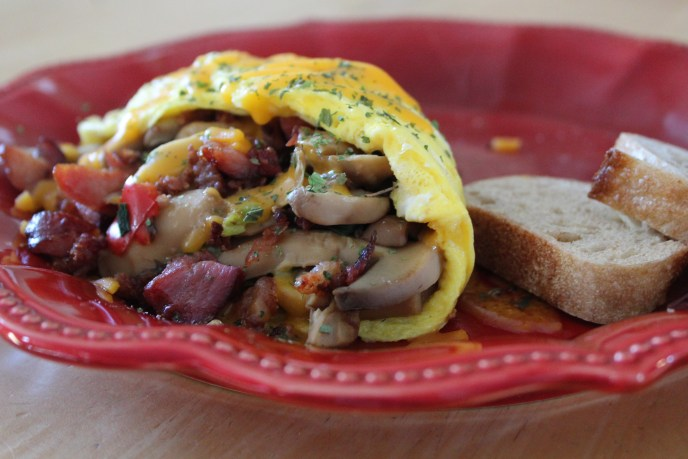 omelet with bacon and veggies