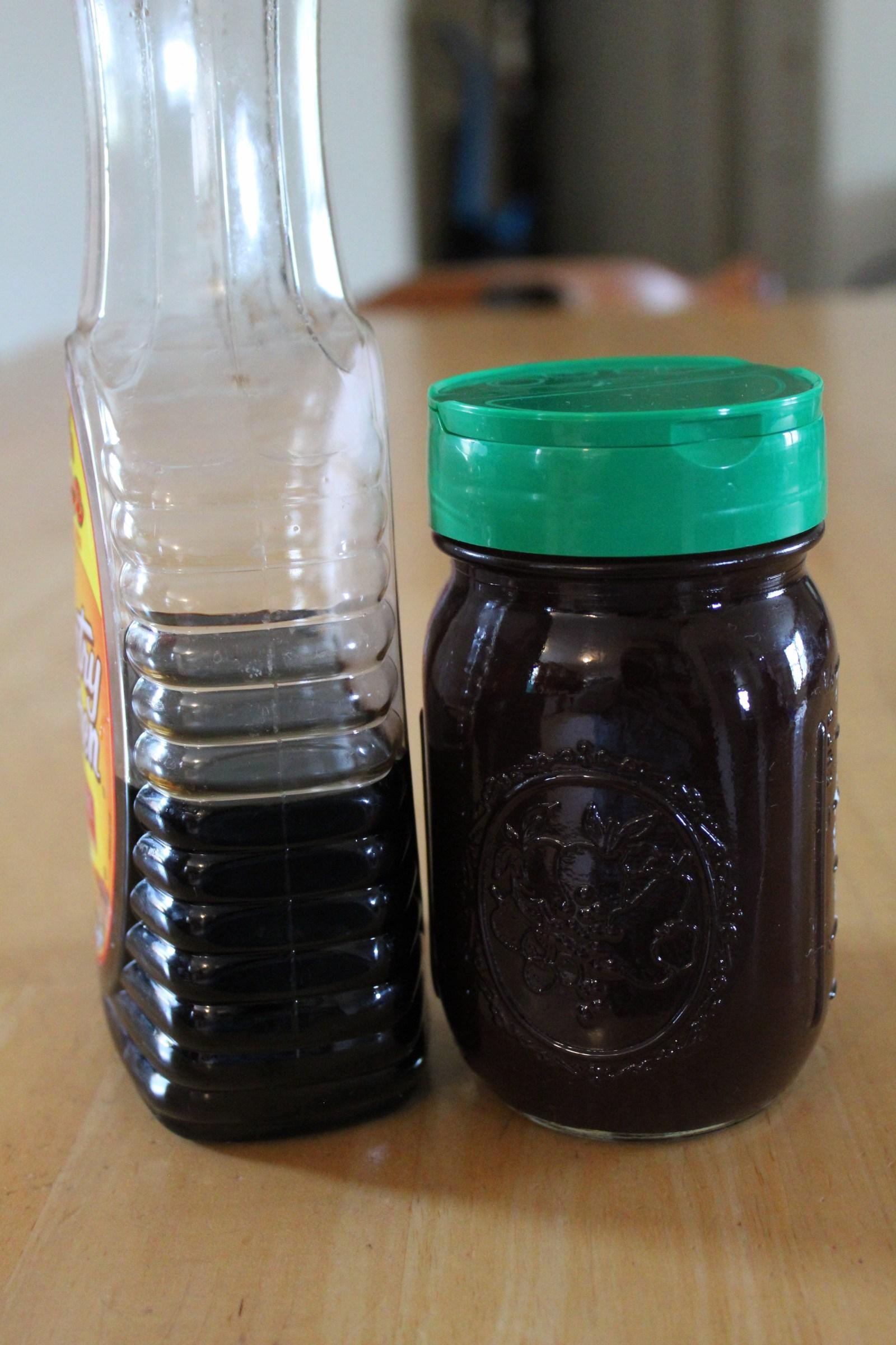 pancake syrup and chocolate syrup