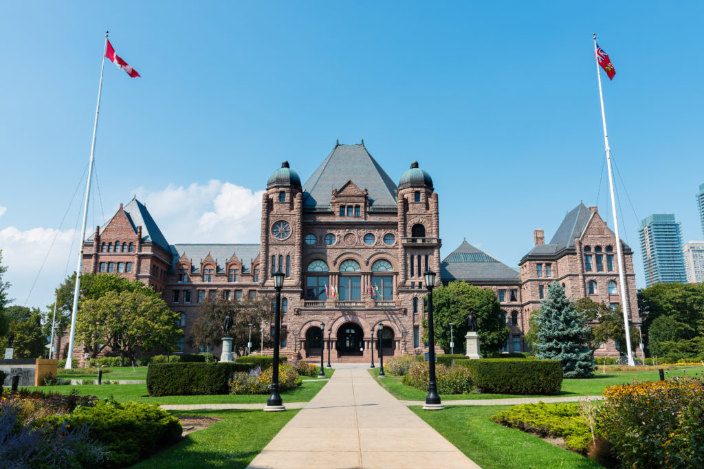 Legislative Assembly of Ontario at Queens Park on a clear Summer day, Toronto.