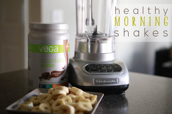 Starting my morning with a New Vega chocolate banana smoothie #AD #BestLifeProject