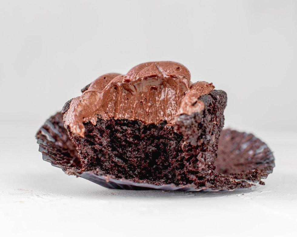 dark chocoalte cupcake with bite missing