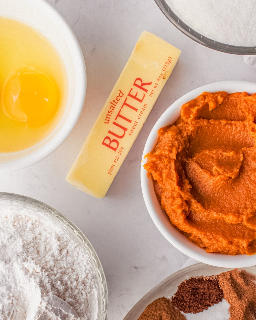 This overhead shot shows the ingredients needed for baking pumpkin bread