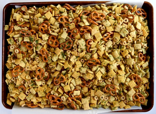 Dill Pickle Snack Mix | Just like the Betty Crocker recipe for Dill Pickle Ranch Chex Mix, but it's gluten free and dairy free! It's a delicious road trip snack or game day mix and it's perfect to make ahead and bring to work or school throughout the week.