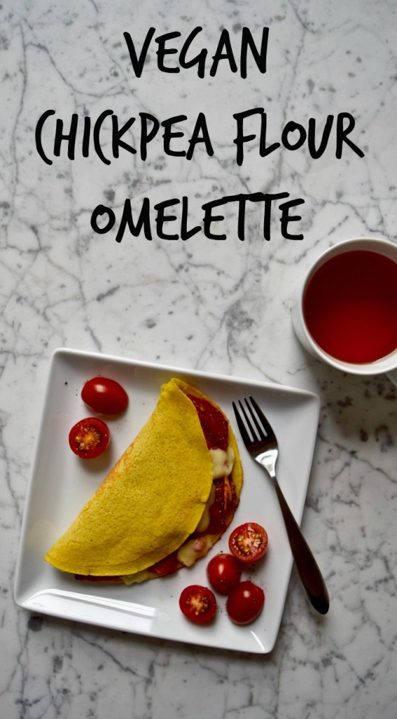Vegan Omelette - This vegan omelette is made of chickpea flour, so it's full of protein, healthy fats, and it's naturally gluten free. Fill with your favorite omelette ingredients!