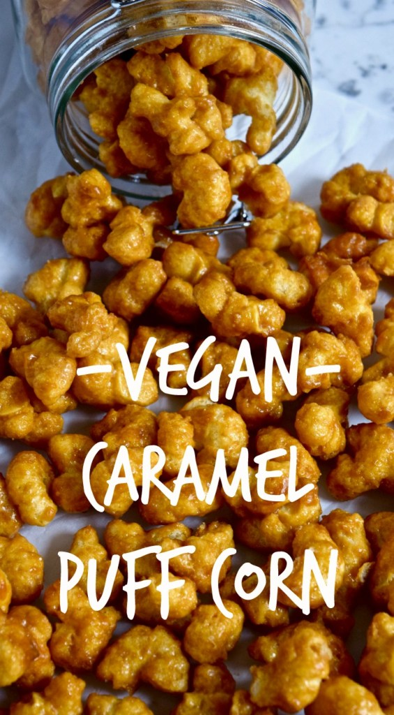 Vegan Caramel Puff Corn Recipe - Yes, you can make caramel puff corn without butter. And it tastes exactly like the regular homemade caramel puff corn! [gluten free, dairy free, vegan, snack, dessert]