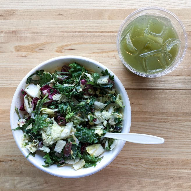 Sienna Salad and Cucumber Mint Lemonade at Sprout Salad Company