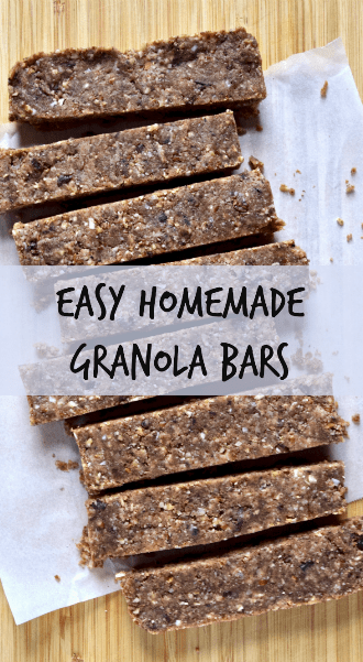 Homemade Granola Bars - These chewy homemade granola bars are a great healthy snack. They're made in the food processor and then just pressed into a container and refrigerated, so they're very easy. Perfect for an on-the-go snack!