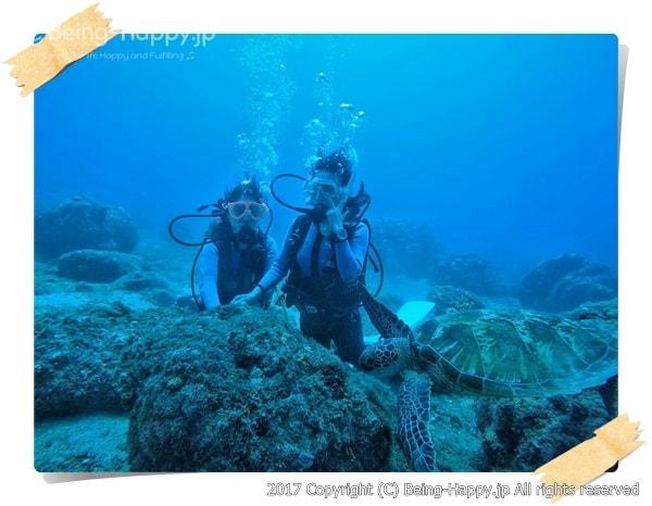 ダイビング初体験の友人と茶子の思いで写真