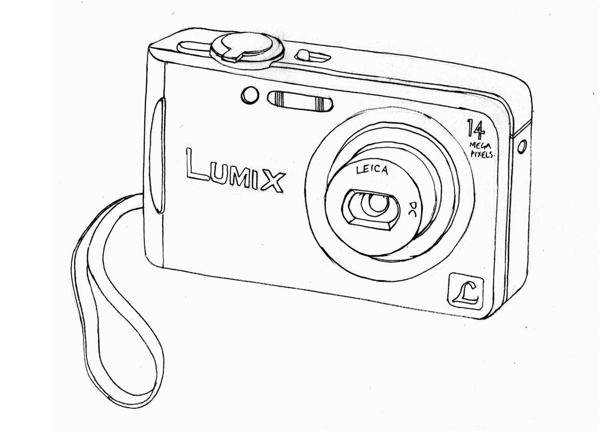 Line drawing Panasonic Lumix FS-14 Camera