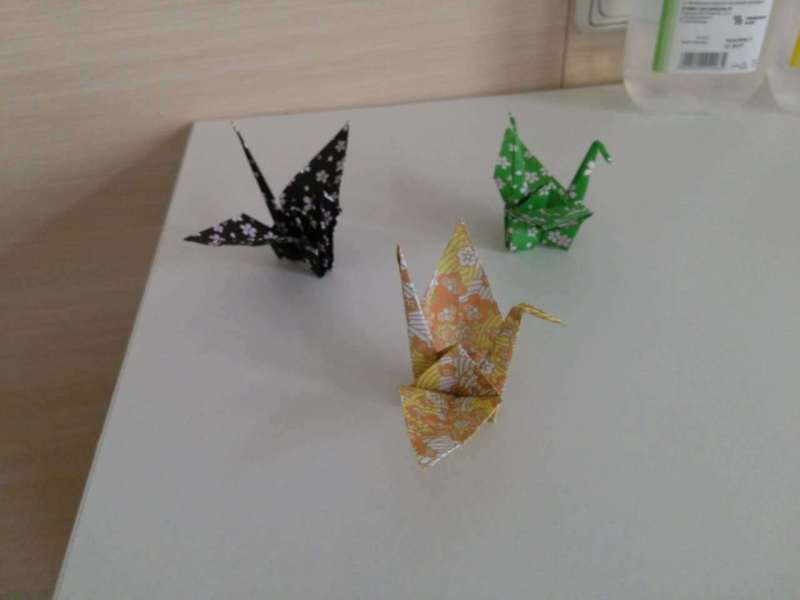 Three origami cranes from our Japanese friend Yuko