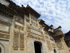 View looking up at 400-year old stone Song Dynasty building in Xiamei
