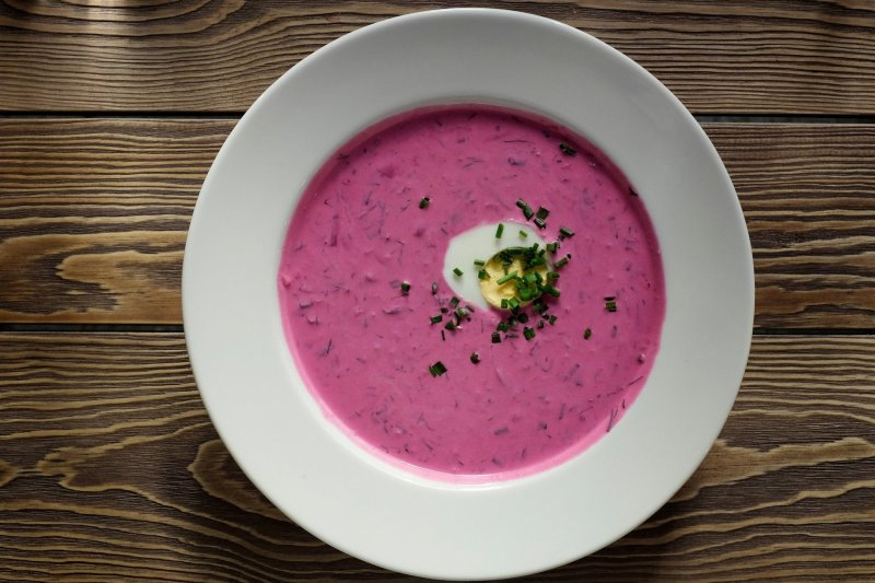 Chłodnik cold Polish soup. The colour is pink.