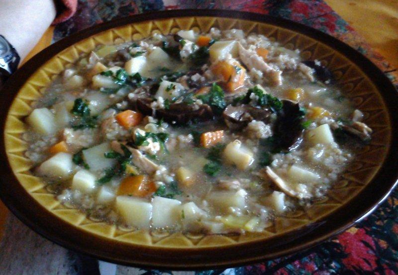 Krupnik barley Polish soup with vegetables and meat