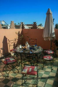 Terrace of the Riad Tah Tah, breakfast on the table